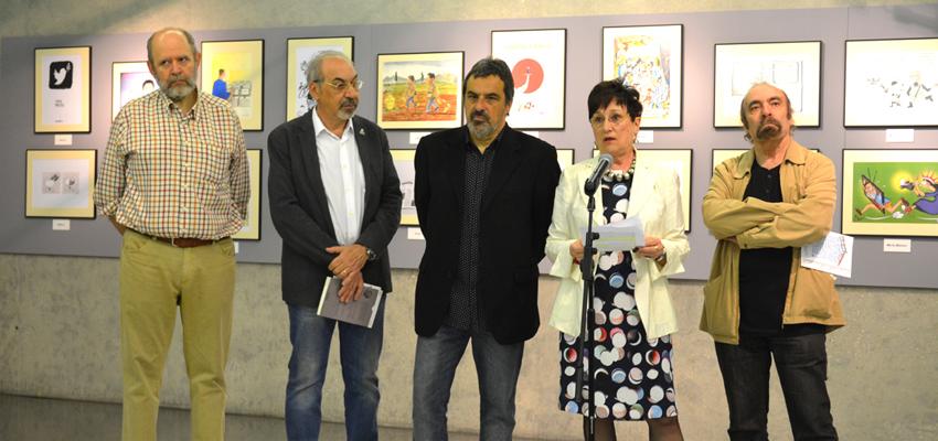 Exposición IV muestra 'Humoristas gráficos por la Libertad de Información' enmarcada por TOT MARC
