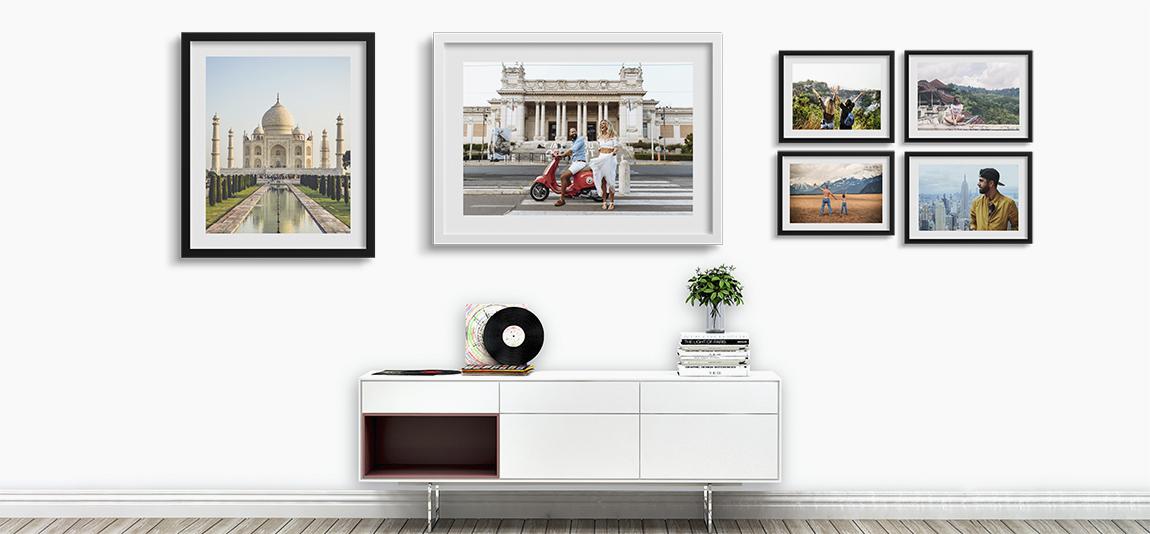 Hace cuadros con fotos de vacaciones y Decorar con fotos propias de vacaciones en marcos de madera a medida